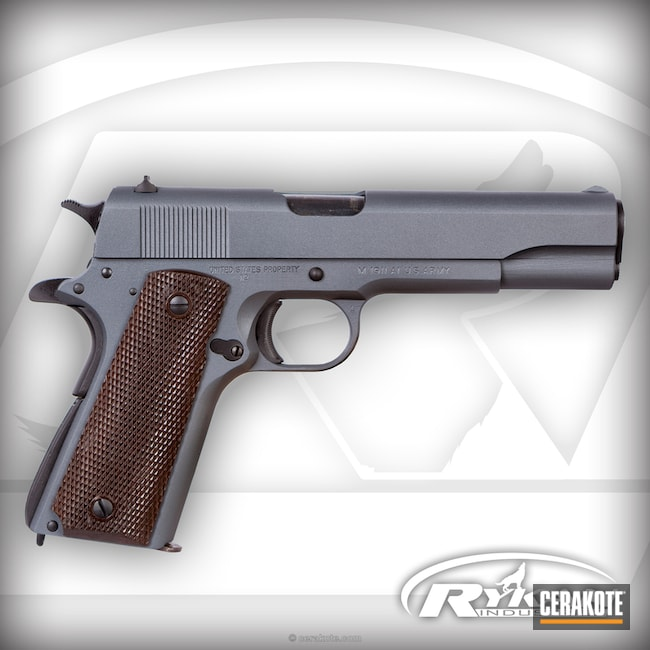 Cerakoted: Ithaca Gun Company,Stone Grey H-262,Restored 1911,.45 ACP,Graphite Black H-146,Pistol,Ithaca 1911,1911