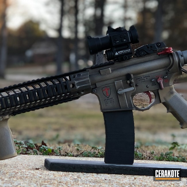 Cerakoted: Battleworn,Graphite Black H-146,Upper / Lower / Handguard,Stainless H-152,Gold H-122,Crusader,Spikes Tactical Reciever