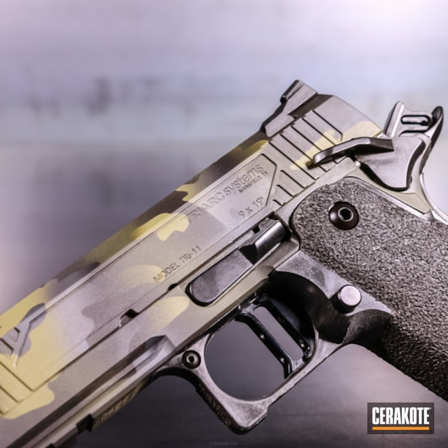 Cerakoted: Single Action,9mm,Double Stack,Stone Grey H-262,HAZEL GREEN H-204,Triarc Systems,Armor Black H-190,Pistol,1911,TRI-11