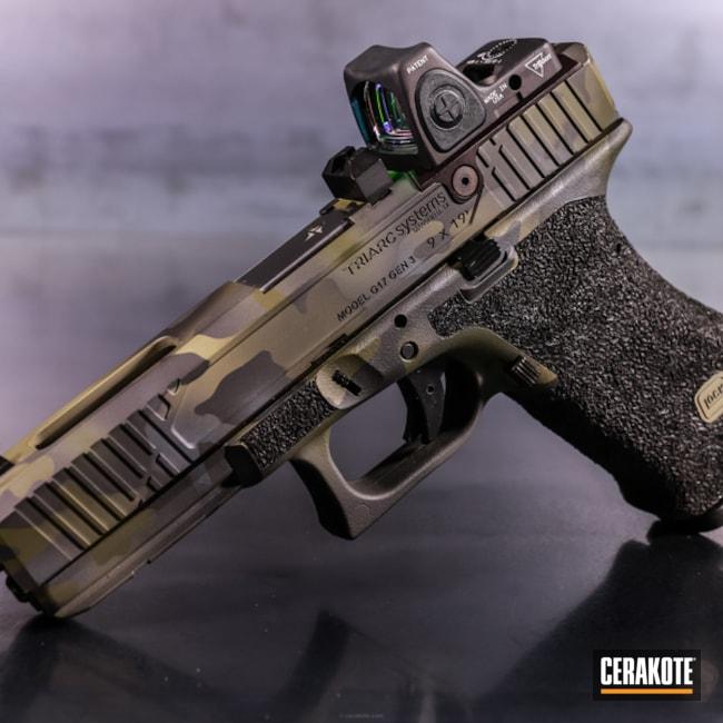 Cerakoted: 9mm,Stone Grey H-262,HAZEL GREEN H-204,Armor Black H-190,Pistol,Threaded Barrel,Glock,Glock 17,RMR Optic,MultiCam Black