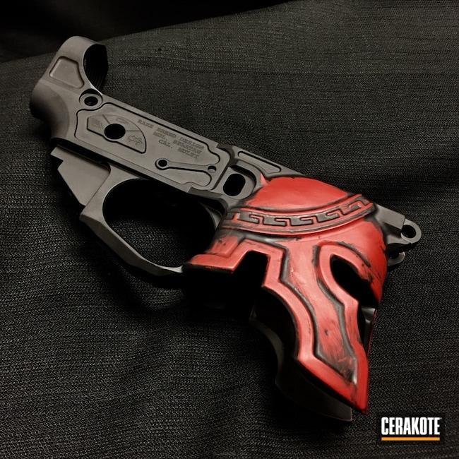 Cerakoted: Lower,Battleworn,Graphite Black H-146,Crimson H-221,Sharps Brothers,Nichols Guns Custom Shop,Spartan Helmet,Spikes Tactical Reciever