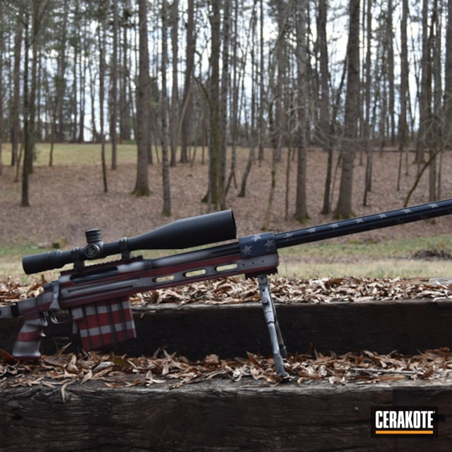 Cerakoted: Bolt Action Rifle,Battleworn Flag,Graphite Black H-146,Distressed American Flag,Crimson H-221,Crushed Silver H-255,American Flag,KEL-TEC® NAVY BLUE H-127,CheyTac USA, LLC,.408 cal