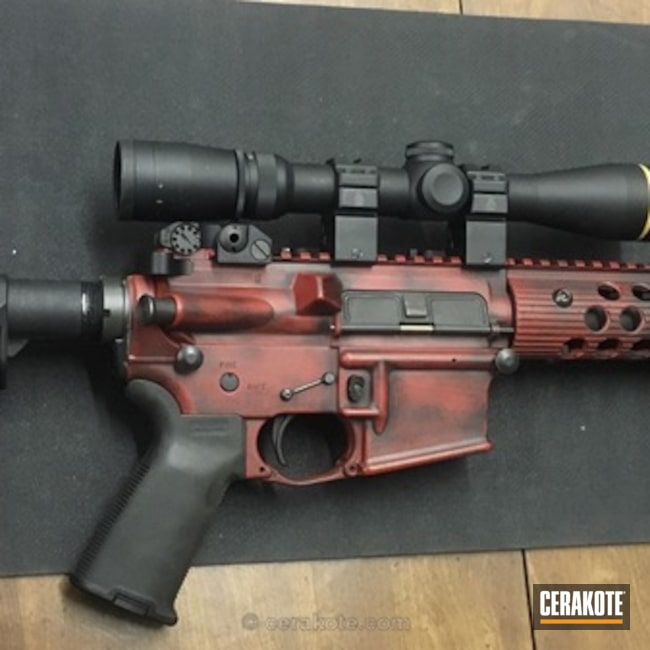 Cerakoted: Two-Color Fade,Battleworn,Fade/blend with spackle,Graphite Black H-146,Distressed,Crimson H-221,Tactical Rifle,AR-15