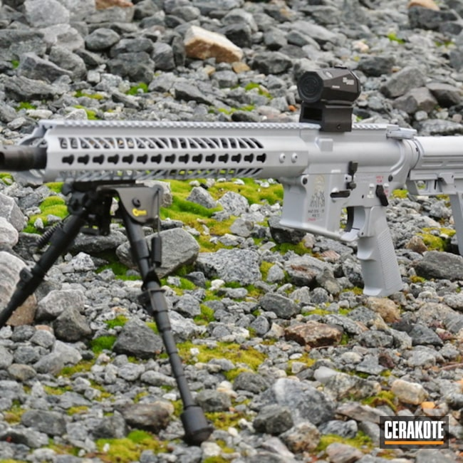 Cerakoted: Palmetto State Armory,Color Fill,FIREHOUSE RED H-216,Crushed Silver H-255,Tactical Rifle,Gold H-122,AR-15