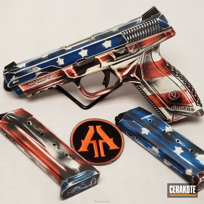 Cerakoted: Ruger,FIREHOUSE RED H-216,Snow White H-136,.45 ACP,Distressed American Flag,Pistol,Merica,Semi-Auto,Ruger American Pistol,Sky Blue H-169