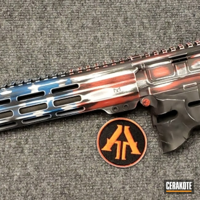Cerakoted: S.H.O.T,FIREHOUSE RED H-216,Snow White H-136,Distressed,Distressed American Flag,Pistol,Gun Coatings,Merica,5.56,Sky Blue H-169,AR-15,Ladies