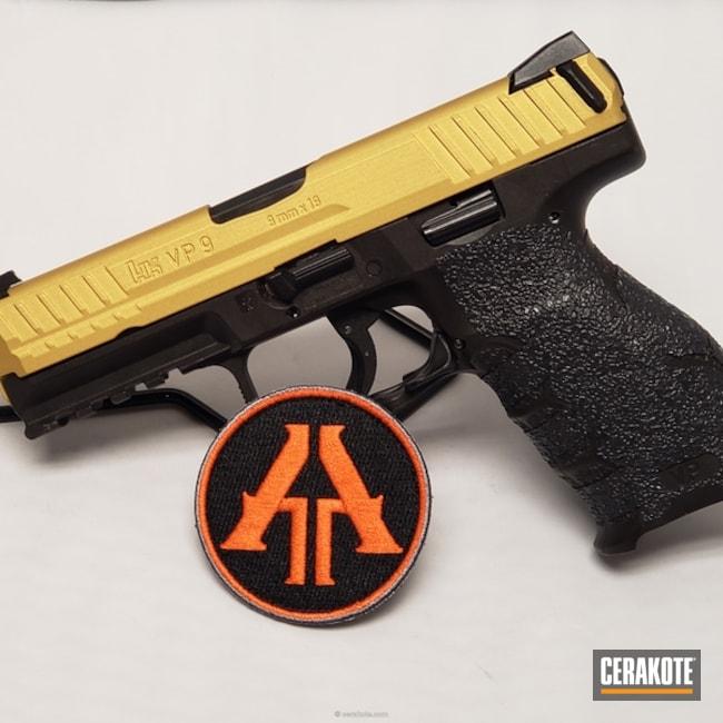 Cerakoted: 9mm,VP9,Graphite Black H-146,HK Pistol,Two Tone,HKVP9,Pistol,Heckler & Koch,Semi-Auto,Gold H-122