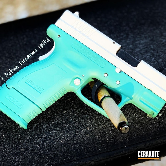 Cerakoted: Robin's Egg Blue H-175,Two Tone,Stormtrooper White H-297,Springfield XD,Pistol,Springfield Armory