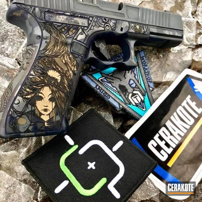 Cerakoted: Laser Stippled,Custom Mix,Pistol,Armor Black H-190,Glock 17,Laser Engrave,Tactical Grey H-227,Gold H-122,Vortex,Continuous Precision,Vortex Venom,Glock,Custom Glock Slide,Sky Blue H-169,Blue Titanium H-185