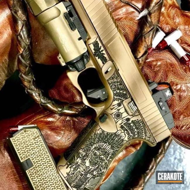 Cerakoted: Laser Stippled,MAGPUL® FLAT DARK EARTH H-267,Indian,Pistol,Armor Black H-190,Dream Catcher,Glock 17,Laser Engrave,GunCandy,Vortex,Continuous Precision,Vortex Venom,Glock,Surefire,Custom Glock Slide,Surefire Flashlight,Cowboys