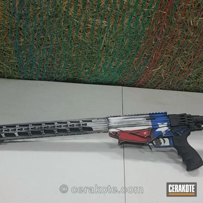 Cerakoted: Bolt Action Rifle,Ruger,NRA Blue H-171,FIREHOUSE RED H-216,Graphite Black H-146,USA,Stormtrooper White H-297,Distressed American Flag,American Flag,Texas Flag
