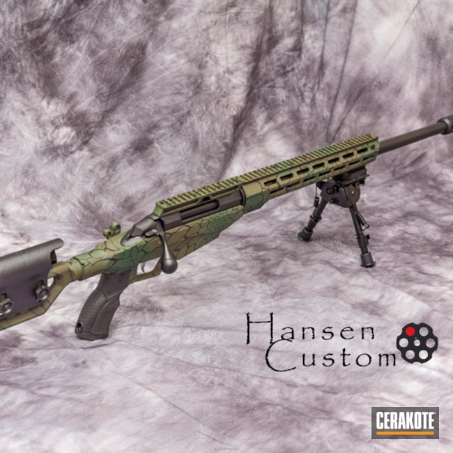 Cerakoted: Custom Mix,Bolt Action Rifle,6.5 Creedmoor,Highland Green H-200,Kryptek,MultiCam,Graphite Black H-146,Armor Black H-190,MAGPUL® O.D. GREEN H-232,Custom Camo,Long Range Tactical Rifle