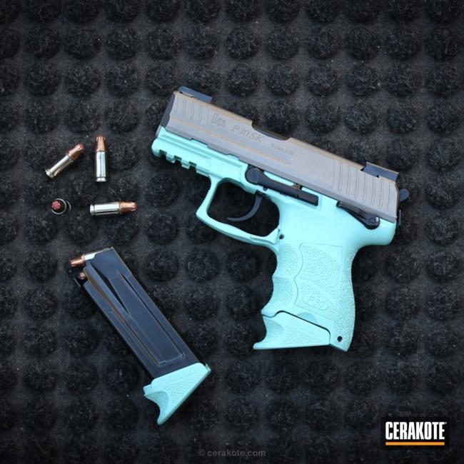 Cerakoted: Robin's Egg Blue H-175,HK Pistol,Two Tone,Stainless H-152,Stormtrooper White H-297,Pistol