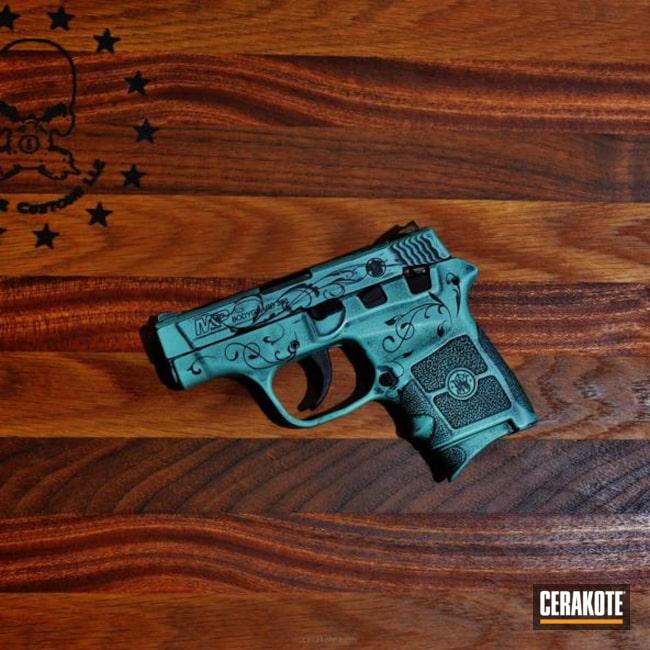 Cerakoted: Robin's Egg Blue H-175,Graphite Black H-146,Distressed,Smith & Wesson,Smith & Wesson M&P,Pistol