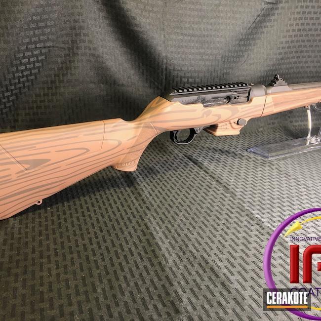 Cerakoted: Rifle,Ruger,Federal Brown H-212,Wood Grain Pattern,Chocolate Brown H-258
