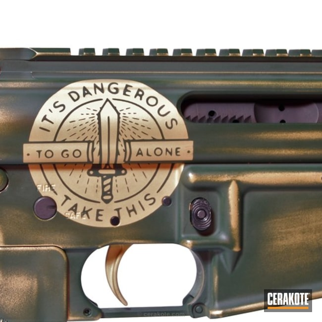 Cerakoted: Video Game Theme,Tactical Rifle,Jesse James Eastern Front Green H-400,Gold H-122,AR-15