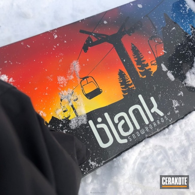 Cerakoted: Corvette Yellow H-144,Winter,Graphite Black H-146,snowboard,More Than Guns,winter sports,Sky Blue H-169,blank snowboards