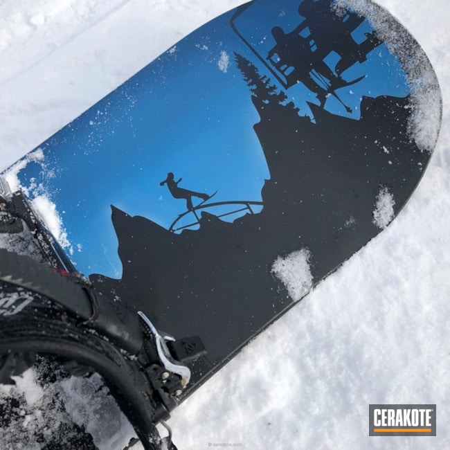 Cerakoted: Winter,Snow White H-136,Graphite Black H-146,snowboard,More Than Guns,winter sports,Sky Blue H-169,blank snowboards