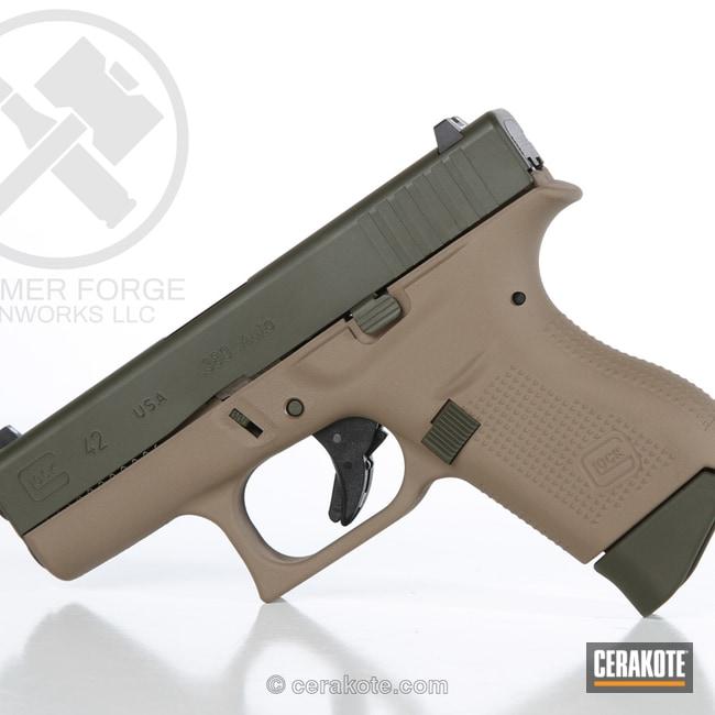 Cerakoted: Glock 42,MAGPUL® FLAT DARK EARTH H-267,Mil Spec O.D. Green H-240,Two Tone,Pistol,Glock,Handguns