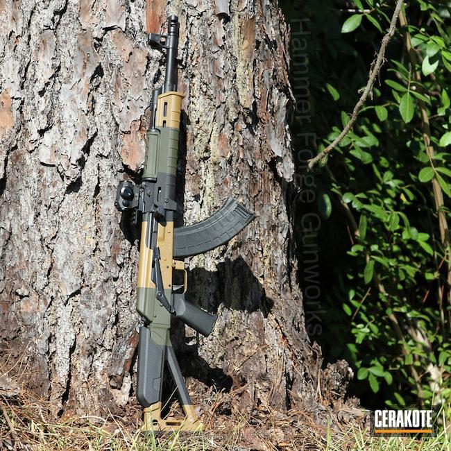 Cerakoted: Vepr,Noveske Tiger Eye Brown H-187,Graphite Black H-146,AK-47,AKM,Noveske Bazooka Green H-189,AK Rifle