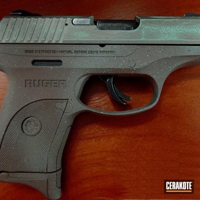 Cerakoted: Hand Engraved,Robin's Egg Blue H-175,Ruger,Battleworn,Engraving,Distressed,Federal Brown H-212,Pistol,Copper Brown H-149