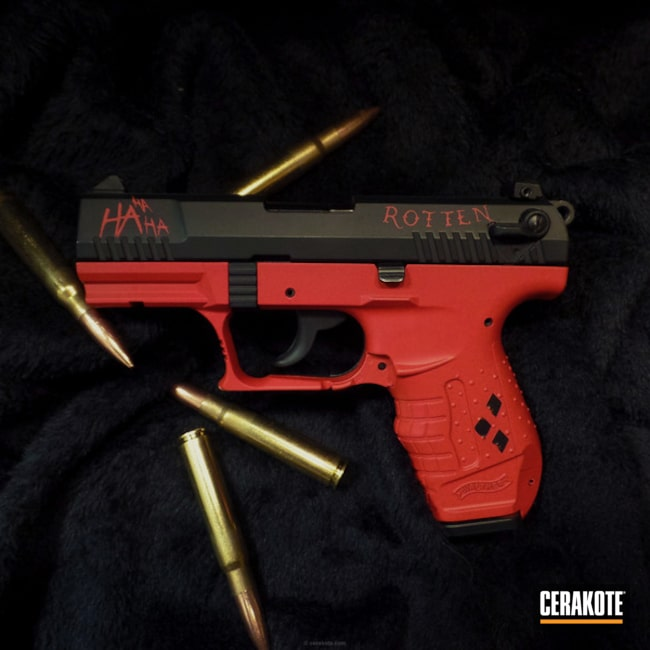 Cerakoted: DC Comics,Walther,Graphite Black H-146,Two Tone,USMC Red H-167,Pistol,Harley Quinn