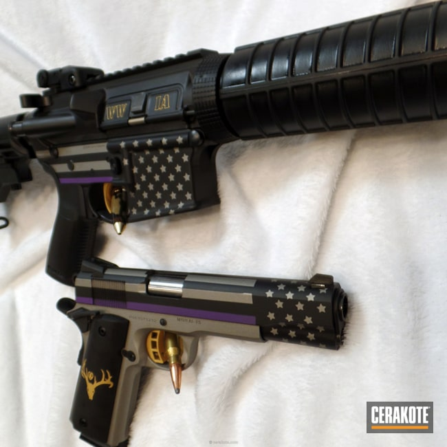 Cerakoted: Wounded Warriors In Action,Graphite Black H-146,Bright Purple H-217,WWIA,Pistol,Tactical Rifle,American Flag,Titanium H-170,Wounded Warrior,Matching Set,Gold H-122