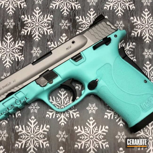 Cerakoted: Satin Mag H-147,Robin's Egg Blue H-175,EZ 380,Two Tone,.380,Smith & Wesson,Pretty Guns,Girls Gun,Pistol
