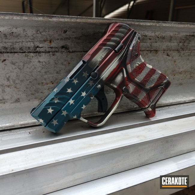 Cerakoted: Hidden White H-242,Ruger,FIREHOUSE RED H-216,Ruger LCP II,Graphite Black H-146,Ridgeway Blue H-220,American Flag