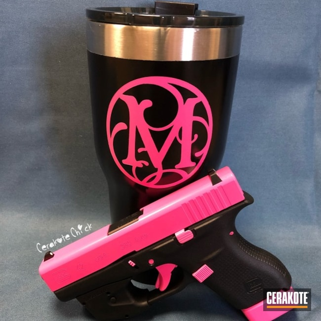 Cerakoted: Graphite Black H-146,Pink and Black,Girls Gun,Glock,Prison Pink H-141,Monogram,Custom Tumbler Cup