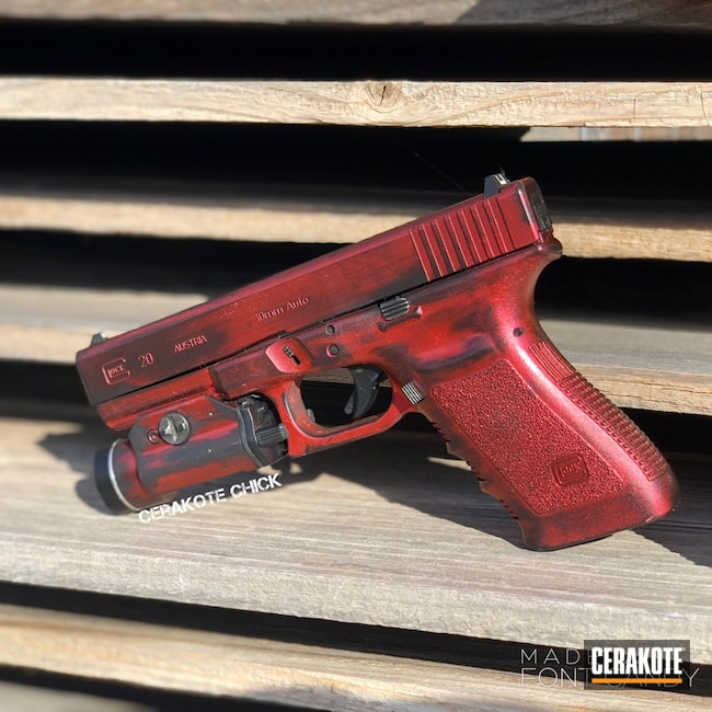 Cerakoted: Candy Red,10mm,Custom Red,Graphite Black H-146,Pistol,Glock,Glock 20,GunCandy
