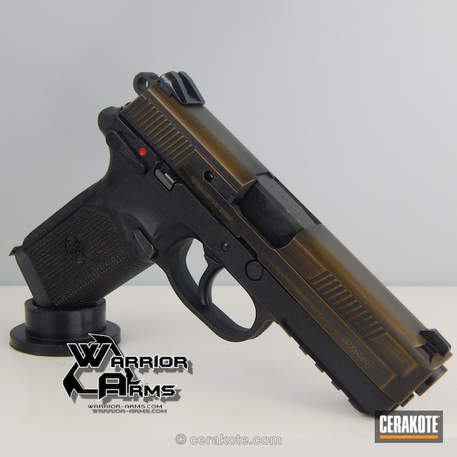 Cerakoted: Graphite Black H-146,Distressed,FN America,Burnt Bronze H-148,Pistol,Warrior Arms,FNP-45