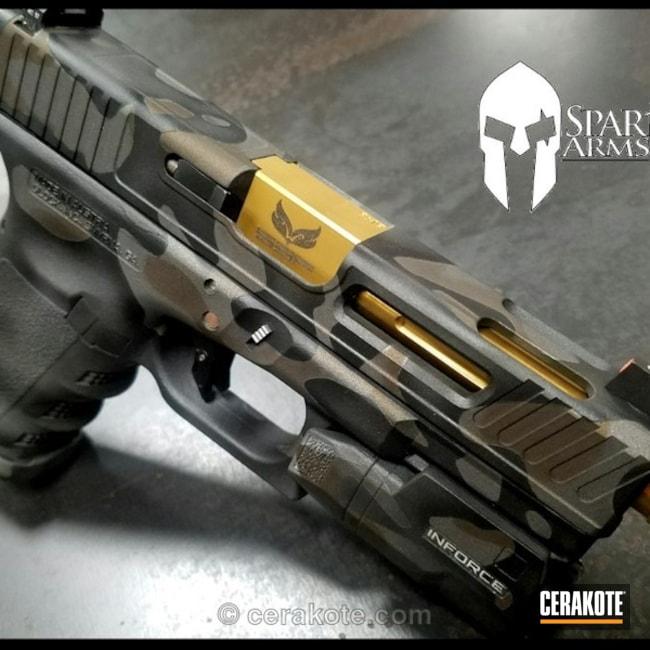Cerakoted: Custom Milling,MultiCam,Inforce,Tungsten H-237,Burnt Bronze H-148,Pistol,Glock,Cobalt H-112