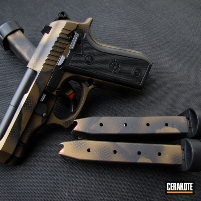 Cerakoted: Snakeskin Camo,Pistola Taurus,Graphite Black H-146,Burnt Bronze H-148,Camo,PT58,Pistol,Cerakoteado,Taurus,Snake Skin,Custom Camo