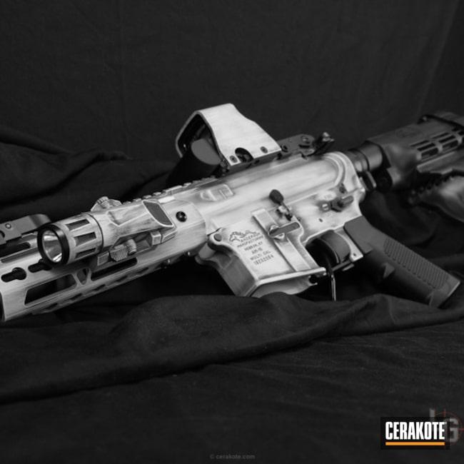 Cerakoted: AR Pistol,Graphite Black H-146,Distressed,Stormtrooper White H-297,AR-15