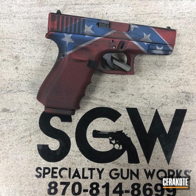 Cerakoted: NRA Blue H-171,FIREHOUSE RED H-216,Gen II Graphite Black HIR-146,Rebel Flag,Pistol,Glock