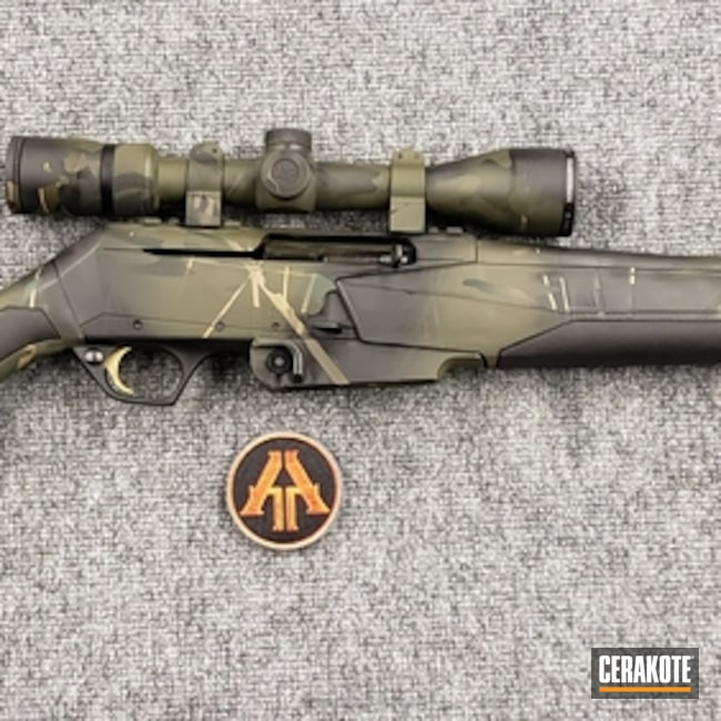 Cerakoted: Rifle,Highland Green H-200,Hunting Rifle,Mil Spec O.D. Green H-240,Browning,Armor Black H-190,BAR Mk3,.308 Win,Custom Camo,Semi-Auto,GLOCK® FDE H-261