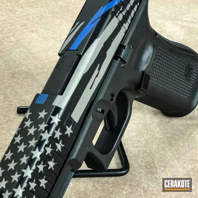 Cerakoted: Thin Blue Line,NRA Blue H-171,Graphite Black H-146,Crushed Silver H-255,Pistol,American Flag,Glock