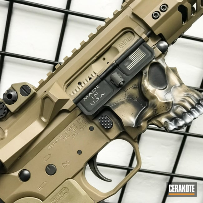 Cerakoted: Skull,Spike's Tactical The Jack,MAGPUL® FLAT DARK EARTH H-267,Spike's Tactical,Distressed,Armor Black H-190,Tactical Rifle