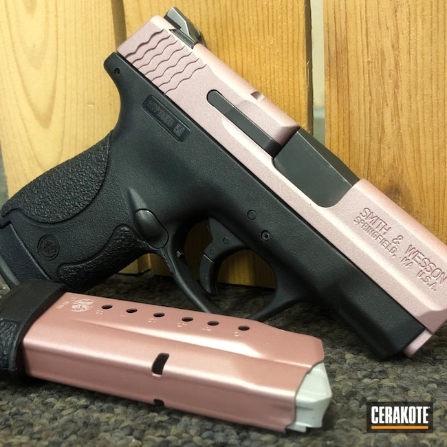 Cerakoted: Shimmer Aluminum H-158,Smith & Wesson,Rose Gold,Crimson H-221,Pistol,Gold H-122