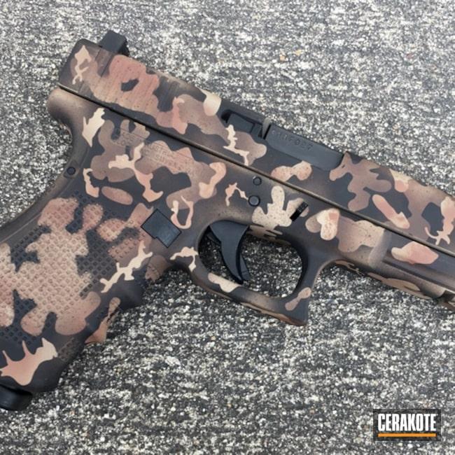 Cerakoted: 10mm,Texas Cerakote,Graphite Black H-146,MCMILLAN® TAN H-203,Federal Brown H-212,Pistol,Glock 20,Nichols Guns Custom Shop,Custom Camo,Chocolate Brown H-258