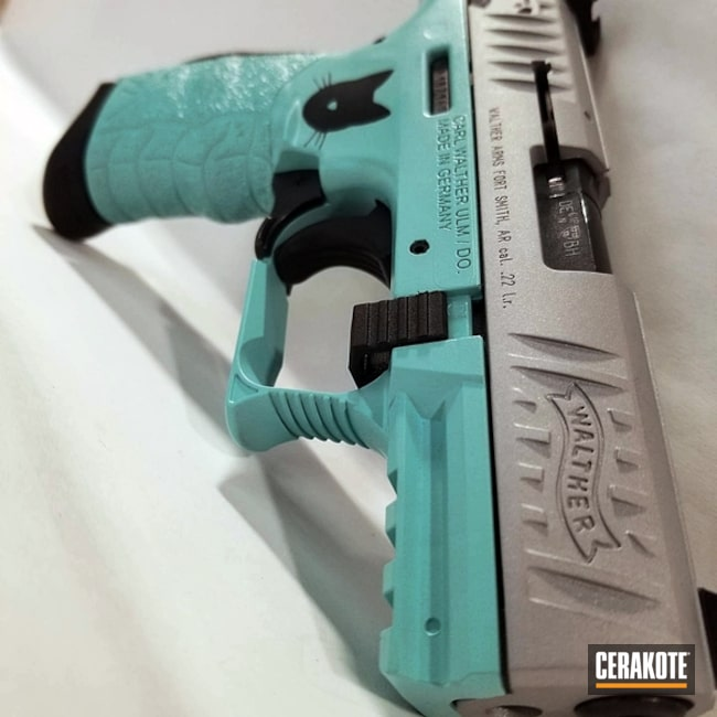 Cerakoted: Walther,Robin's Egg Blue H-175,Hello Kitty,Graphite Black H-146,Walther P22,Crushed Silver H-255,Pistol,22lr