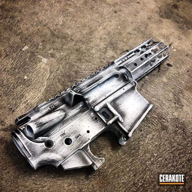 Cerakoted: Bright White H-140,Receiver,Graphite Black H-146,Distressed,Upper / Lower / Handguard,AR-15