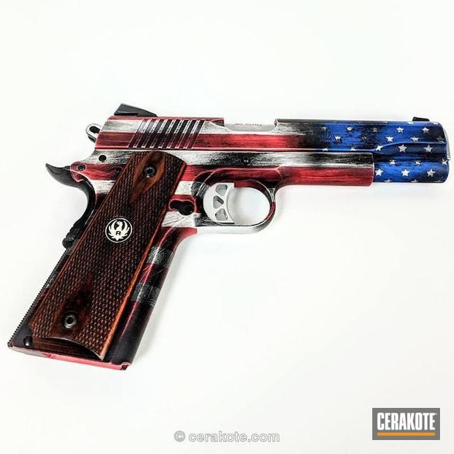 Cerakoted: NRA Blue H-171,FIREHOUSE RED H-216,Battleworn,Snow White H-136,Battleworn Flag,Graphite Black H-146,Distressed,Distressed American Flag,Pistol,American Flag,1911,Stars and Stripes