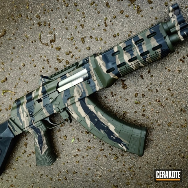 Cerakoted: Custom Mix,Vietnam Tiger Stripe Camo,Tiger Stripes,Graphite Black H-146,AK-47,Noveske Bazooka Green H-189,AK Rifle