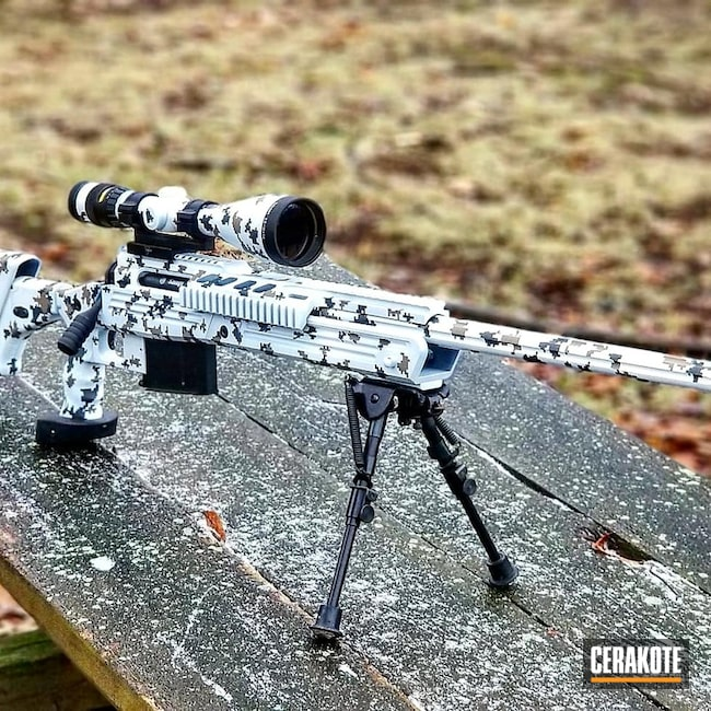 Cerakoted: Bolt Action Rifle,Sniper Grey H-234,MAGPUL® FLAT DARK EARTH H-267,.338 lapua,Digital Camo,Stormtrooper White H-297,Tactical Rifle,Winter Camo