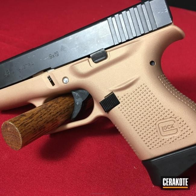 Cerakoted: Custom Mix,Champagne,Pistol,Satin Aluminum H-151,Glock,Prison Pink H-141,Slide,Gold H-122,Glock 43