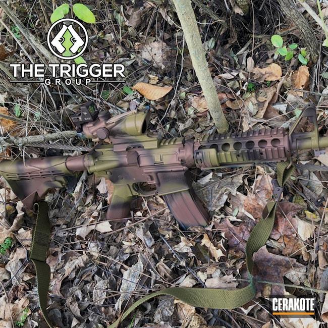 Cerakoted: Woodland Camo,Graphite Black H-146,Federal Brown H-212,Colt,Tactical Rifle,Trijicon,M801,Noveske Bazooka Green H-189,Acog,mro,AR-15,Soft Edges
