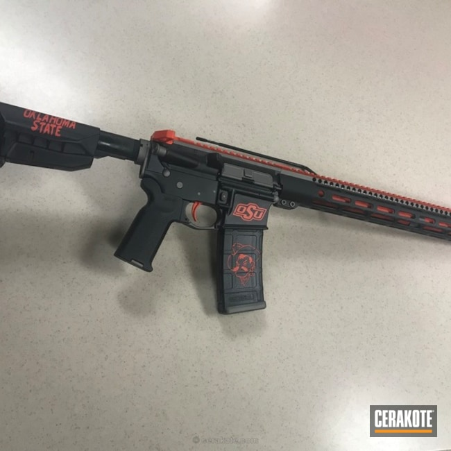 Cerakoted: Rifle,College Theme,Graphite Black H-146,Oklahoma St. Cowboys,Gun Metal Grey H-219,Oklahoma State University,Hunter Orange H-128,AR-15