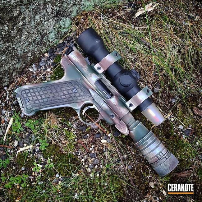 Cerakoted: Freehand Camo,Highland Green H-200,Ruger,Camo,Pistol,Flat Dark Earth H-265,Ruger mkII,Custom Camo,Blaster,Chocolate Brown H-258,Star Wars